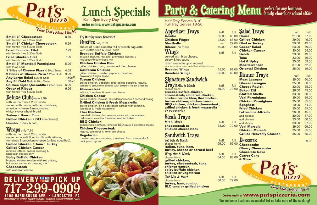 custom restaurant menu - Pat's Pizzeria - akusuo small business marketing
